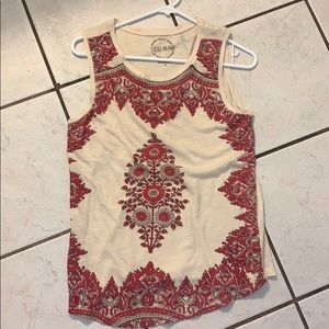 Lucky brand cream and pastel pink paisley design